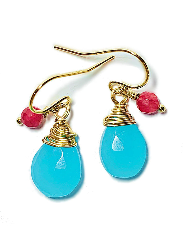 Color Drop Earrings in Blue and Pink Chalcedony - JulRe Designs LLC