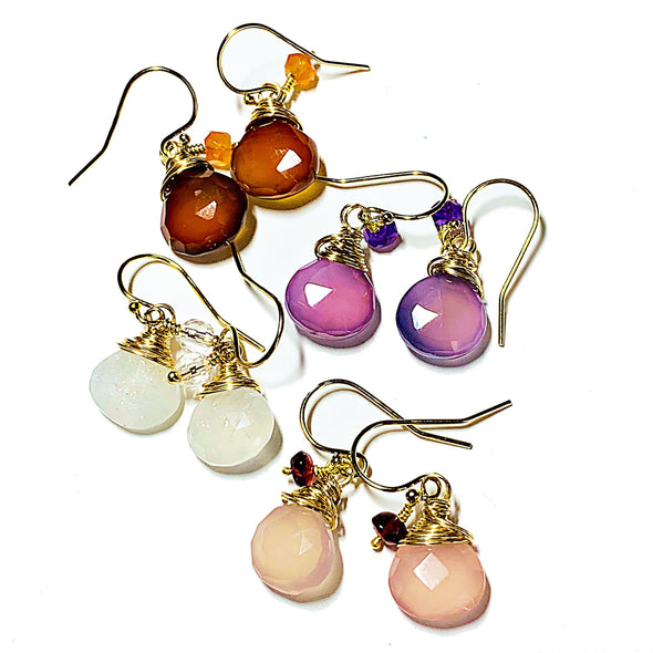 Color Drop Earrings in Pale Pink Chalcedony and Garnet