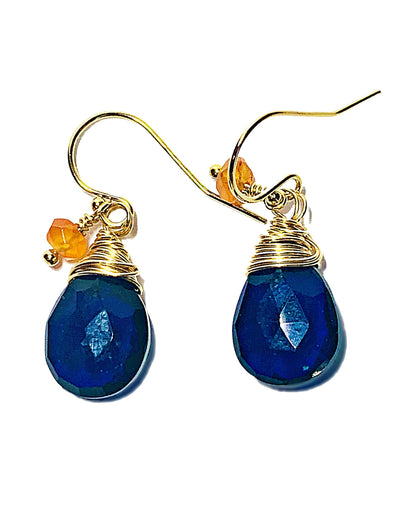 Color Drop Earrings in Navy Blue Quartz and Carnelian - JulRe Designs LLC
