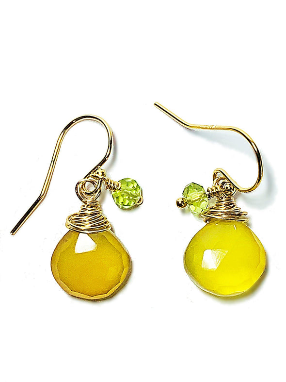 Color Drop Earrings in Yellow Chalcedony and Peridot - JulRe Designs LLC