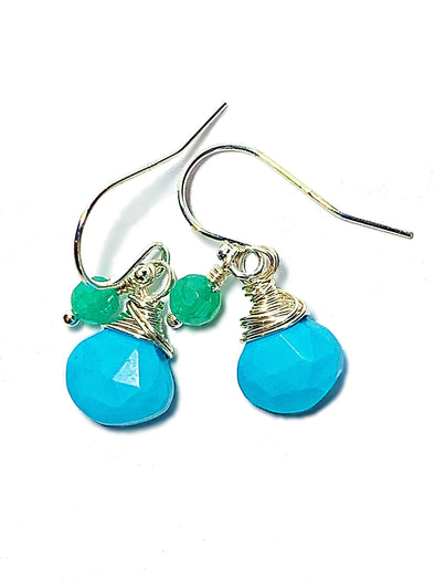 Color Drop Earrings in Turquoise and Aventurine