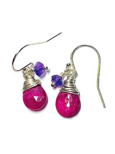 Color Drop Earrings in Ruby and Amethyst - JulRe Designs LLC