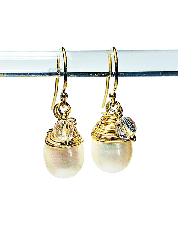Color Drop Earrings in Pearl and Rock Crystal