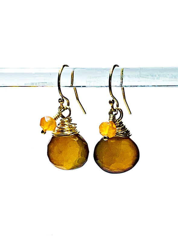 Color Drop Earrings in Toffee Chalcedony and Carnelian - JulRe Designs LLC