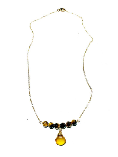 Color Drop Choker Necklace in Tiger Eye and Sunset Yellow Chalcedony - JulRe Designs LLC