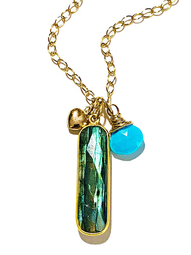 Color Drop Charm Necklace in Labradorite and Turquoise