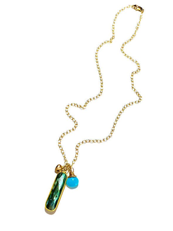 Color Drop Charm Necklace in Labradorite and Turquoise - JulRe Designs LLC