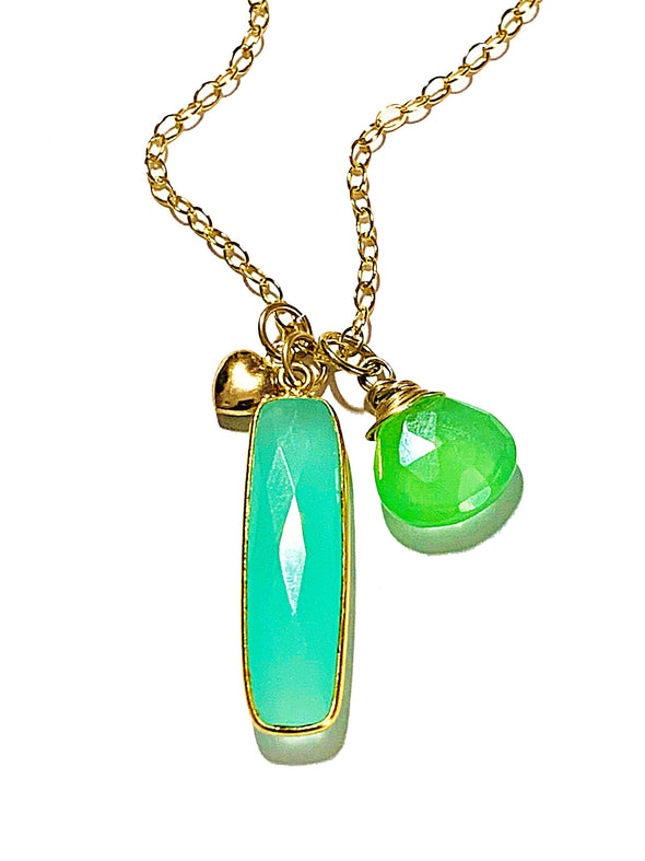 Color Drop Charm Necklace in Aqua Chalcedony and Peridot Quartz - JulRe Designs LLC