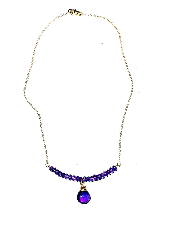 Color Drop Choker Necklace in Amethyst