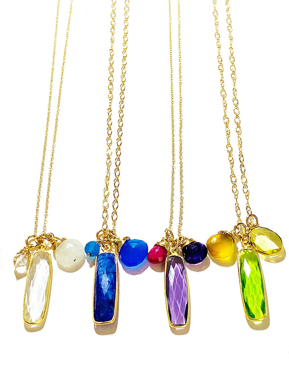 Color Drop Charm Necklace in Lapis Lazuli and Cobalt Chalcedony - JulRe Designs LLC