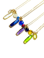 Color Drop Charm Necklace in Peridot Quartz and Lemon Topaz
