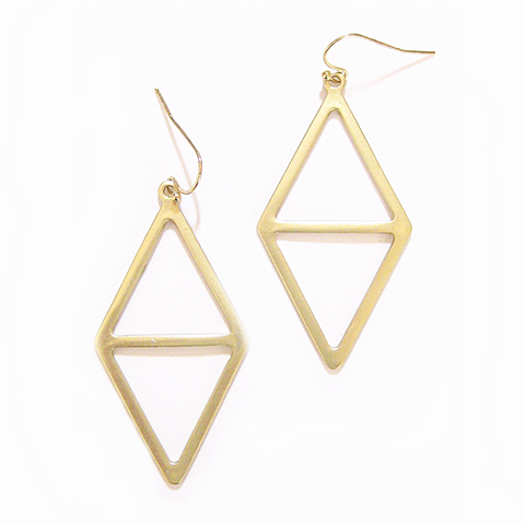 Eclectic Modern Diamond Earrings in Matte Gold