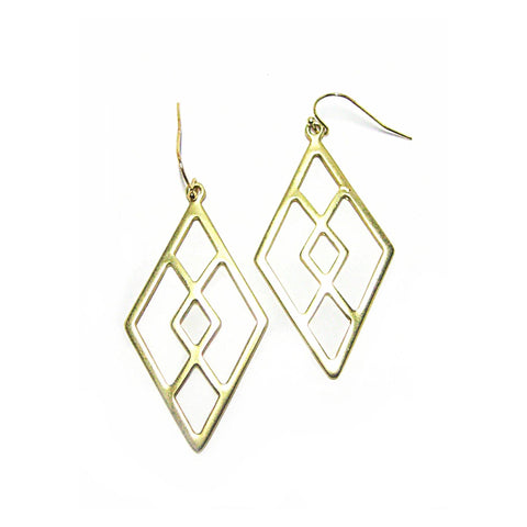Eclectic Diamond Earrings in Matte Gold