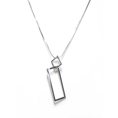 Eclectic Double Drop Necklace in Silver