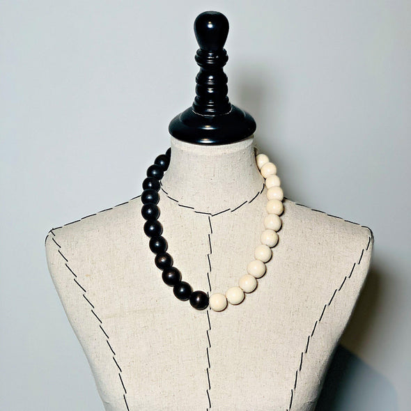Gumball Necklace No. 1 in Brown and Cream - JulRe Designs LLC