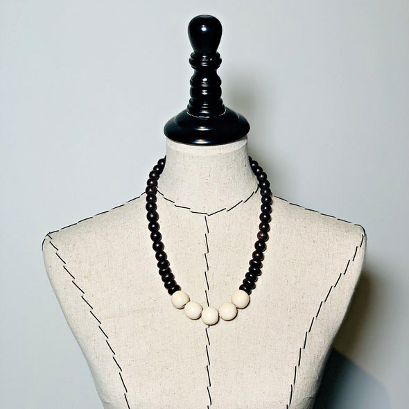 Gumball Necklace No. 2 in Brown and Cream