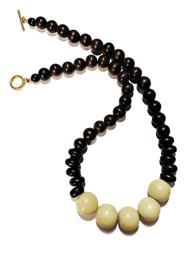 Gumball Necklace No. 2 in Brown and Cream - JulRe Designs LLC