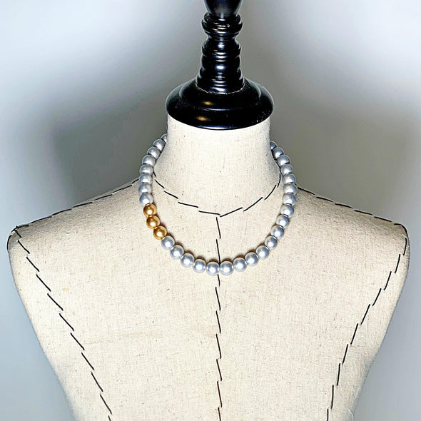 Gumball Necklace No. 2 in Gold and Silver - JulRe Designs LLC