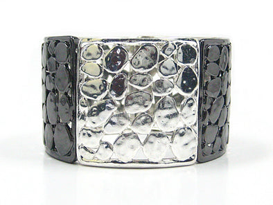 Freya Stretch Cuff Bracelet in Silver/Hematite - JulRe Designs LLC