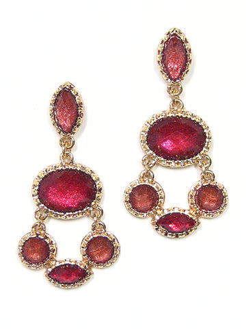 Zora Dangle Earrings in Dark Red
