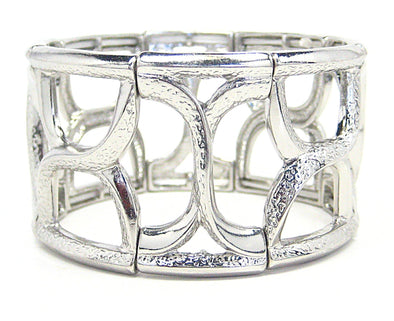 Giana Stretch Cuff Bracelet in Silver - JulRe Designs LLC