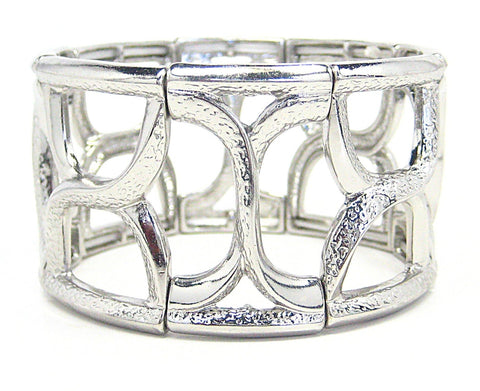 Giana Stretch Cuff Bracelet in Silver