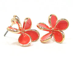 Aida Petal Stud Earrings in Coral