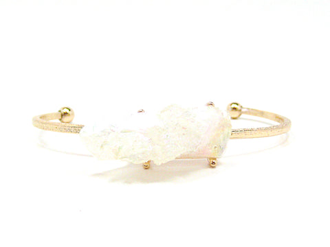 Odette Thin Stone Bracelet in Iridescent White