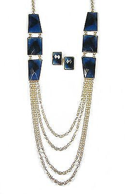 Rayna Necklace Set in Dark Blue