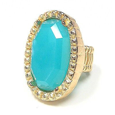Salome Stretch Cocktail Ring in Peacock Blue