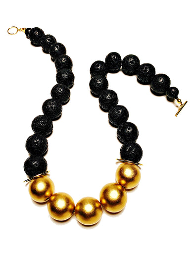 Lava Love Necklace No. 1 in Black and Gold