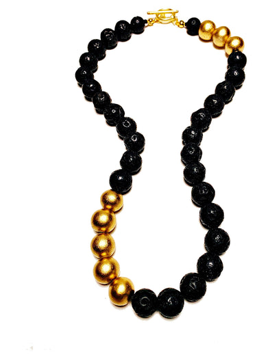Lava Love Necklace No. 2 in Black and Gold