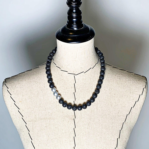 Lava Love Necklace No. 2 in Black and Silver - JulRe Designs LLC