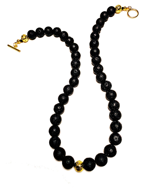 Lava Love Necklace No. 3 in Black and Gold - JulRe Designs LLC