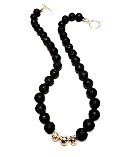 Lava Love Necklace No. 3 in Black and Silver - JulRe Designs LLC