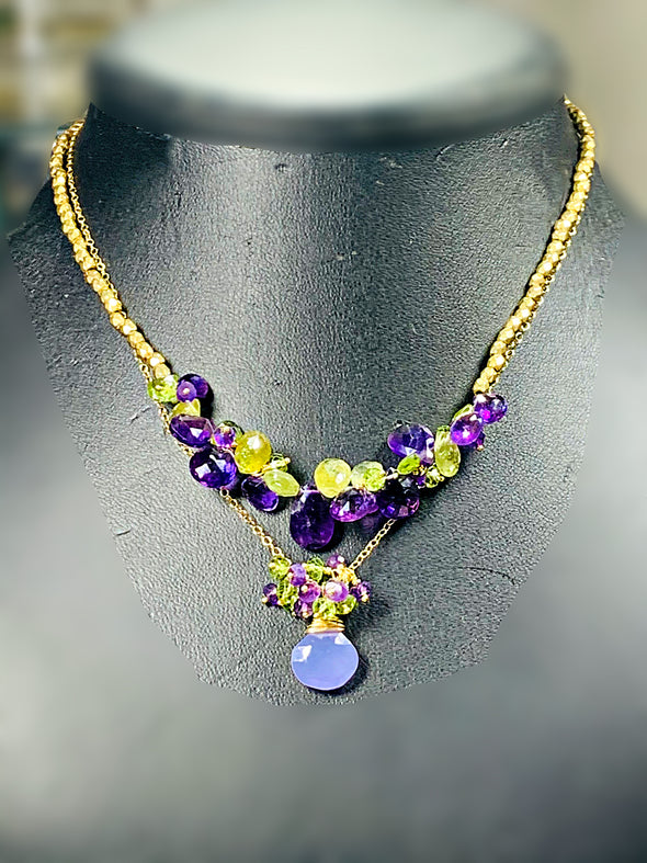 Lavender Love Cluster Necklace