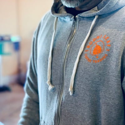 Bodhi Hoodie-Light Grey With Orange-Small-Bodhi Leaf Coffee Traders