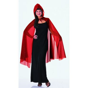 "45"" Red Glitter Hooded Cape"