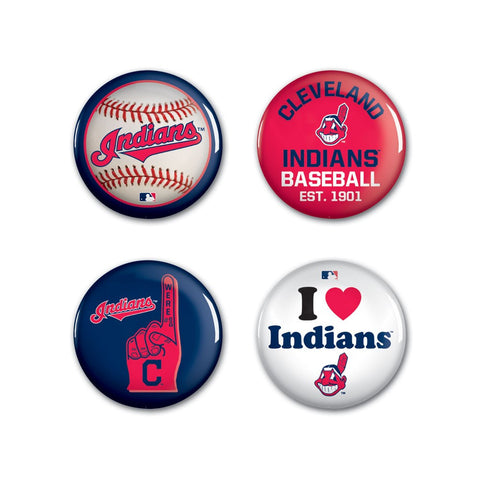 Cleveland Indians 4 Pack Buttons