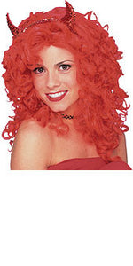 Glamour Red Curly Wig