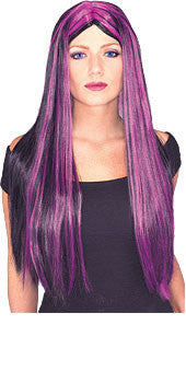 "Witch 24"" Purple Streaked Wig"
