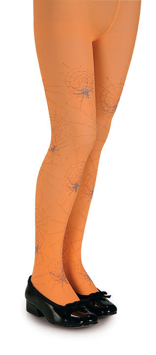 Tights - Youth Orange Glitter Spider