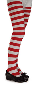 Tights - Youth Red and White Striped