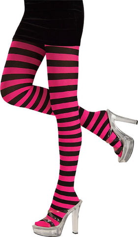 Tights - Adult Pink and Black Striped