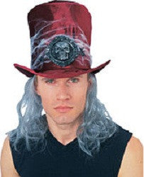 Burgundy Velvet Cobweb Hat and Hair