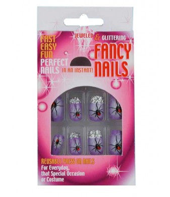 Glitter and Jewel Purple Spider Fancy Nails
