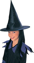 Child's Black Witch Hat with Black Hair