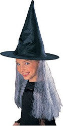 Child's Black Witch Hat with Grey Hair