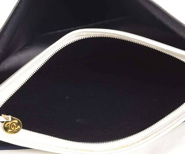 White Quilted Lambskin Flap Shoulder Bag