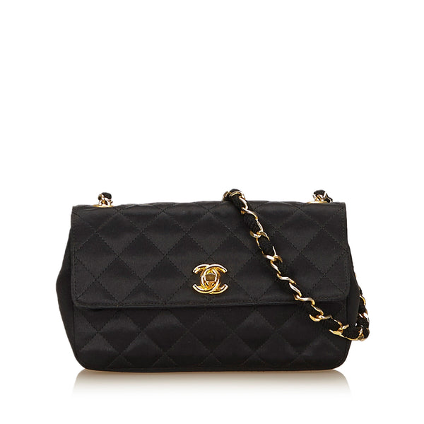 Black Quilted Satin Chain Flap Bag